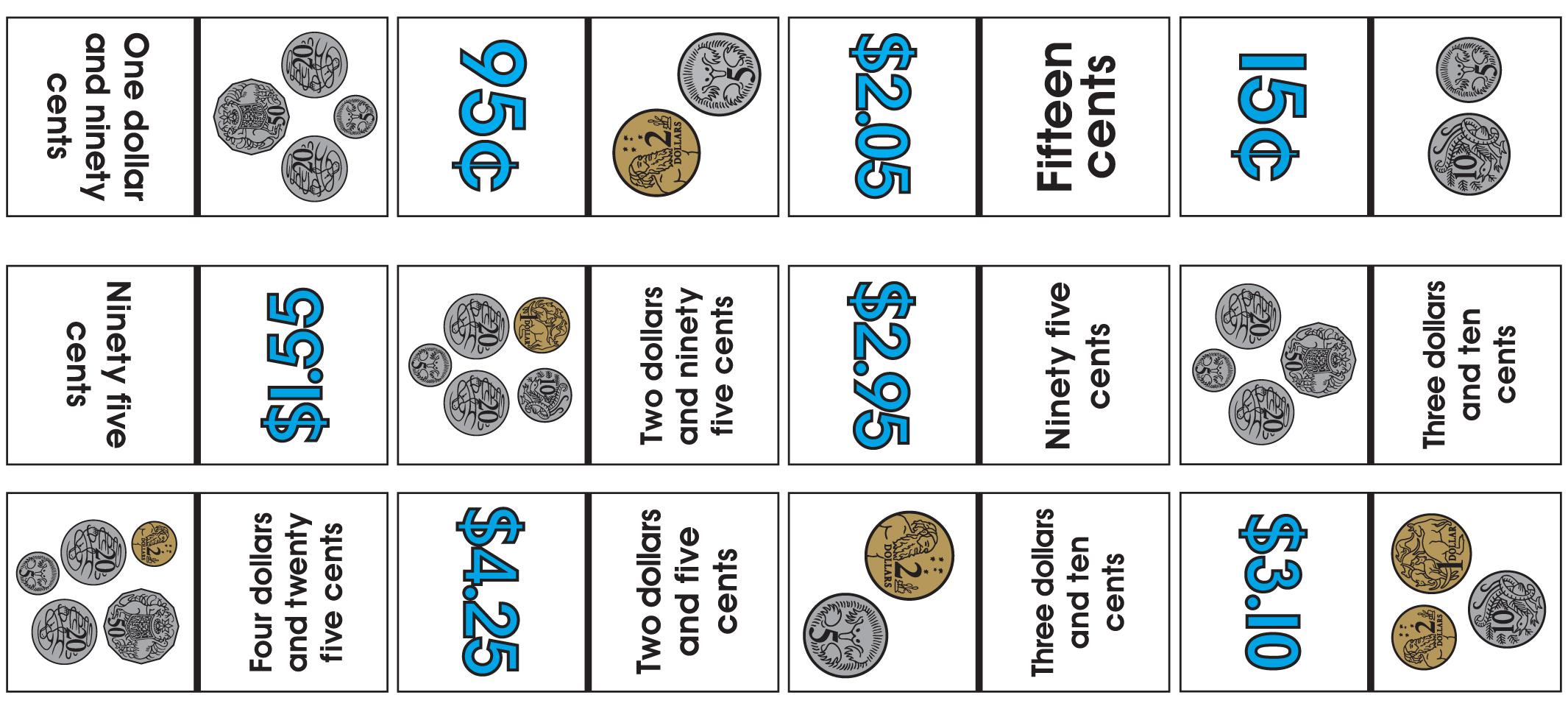 Australian Coins Dominoes – Learn Heaps