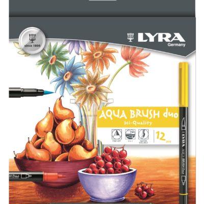 Lyra Aqua Brush Duo. Fibre pen with brush effect. 12 pack assorted colours.