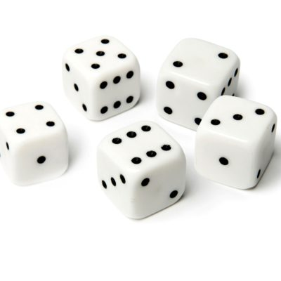 White Dice Set of 5 25mm